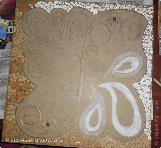Картина панно рисунок Мастер-класс 8 марта День матери Аппликация Панно из круп + мини МК Гуашь Клей Кофе Краска Крупа Материал природный Семена Скорлупа яичная Фанера Шпагат фото 24