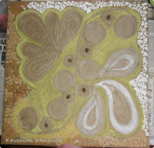 Картина панно рисунок Мастер-класс 8 марта День матери Аппликация Панно из круп + мини МК Гуашь Клей Кофе Краска Крупа Материал природный Семена Скорлупа яичная Фанера Шпагат фото 26