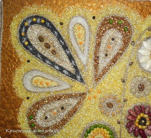 Картина панно рисунок Мастер-класс 8 марта День матери Аппликация Панно из круп + мини МК Гуашь Клей Кофе Краска Крупа Материал природный Семена Скорлупа яичная Фанера Шпагат фото 2