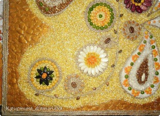 Картина панно рисунок Мастер-класс 8 марта День матери Аппликация Панно из круп + мини МК Гуашь Клей Кофе Краска Крупа Материал природный Семена Скорлупа яичная Фанера Шпагат фото 5