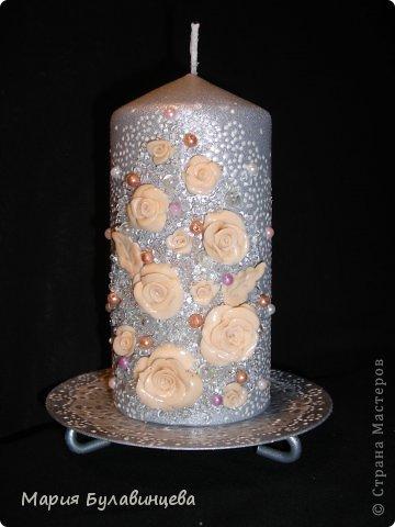 Декор предметов Свадьба Лепка Роспись Свадебные бокалы и свечи ручной работы Бисер Бусинки Клей Ленты Пластика фото 10.