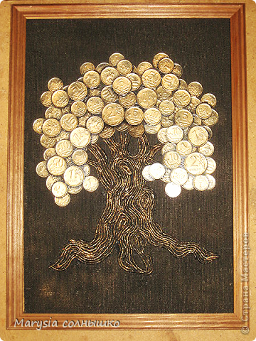 Картина панно рисунок День рождения Аппликация Панно Денежное дерево  Ткань фото 1