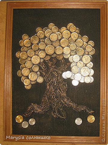 Картина панно рисунок День рождения Аппликация Панно Денежное дерево  Ткань фото 2