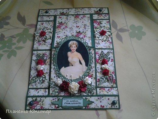 И снова здравствуйте! Сегодня у меня открыточка женщине на юбилей. Ей исполняется 55 лет, она - красавица-блондинка. Думаю, ей понравится!  Давайте смотреть.  фото 3