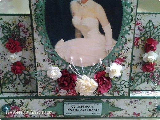 И снова здравствуйте! Сегодня у меня открыточка женщине на юбилей. Ей исполняется 55 лет, она - красавица-блондинка. Думаю, ей понравится!  Давайте смотреть.  фото 7