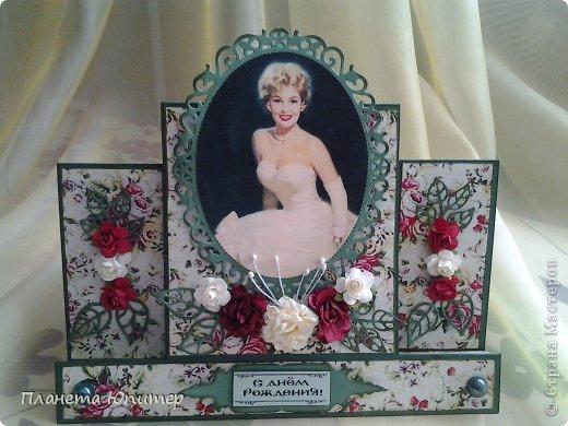 И снова здравствуйте! Сегодня у меня открыточка женщине на юбилей. Ей исполняется 55 лет, она - красавица-блондинка. Думаю, ей понравится!  Давайте смотреть.  фото 10