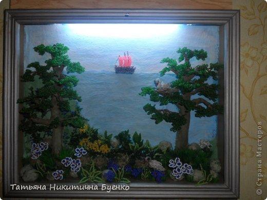 Картина панно рисунок Плетение картина-светильник из бисера Бисер Дерево.
