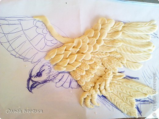 Картина панно рисунок Лепка Коршун Салфетки Тесто соленое фото 3