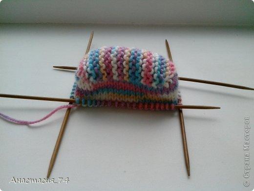 Гардероб Мастер-класс Вязание спицами Очень простые пинеточки для малыша подробный МК Нитки Пуговицы фото 22