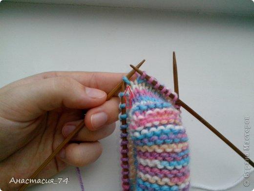 Гардероб Мастер-класс Вязание спицами Очень простые пинеточки для малыша подробный МК Нитки Пуговицы фото 24