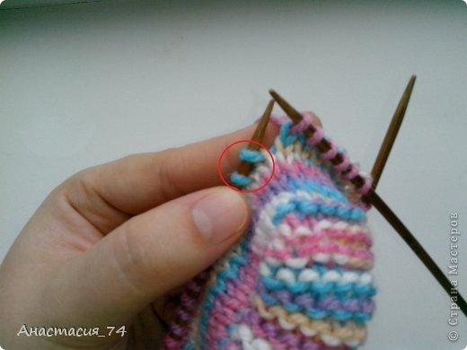 Гардероб Мастер-класс Вязание спицами Очень простые пинеточки для малыша подробный МК Нитки Пуговицы фото 25