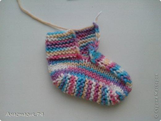 Гардероб Мастер-класс Вязание спицами Очень простые пинеточки для малыша подробный МК Нитки Пуговицы фото 33