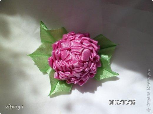 Украшение Цумами Канзаши Хризантема Канзаши и джинсовый цветок Ленты Ткань фото 2.