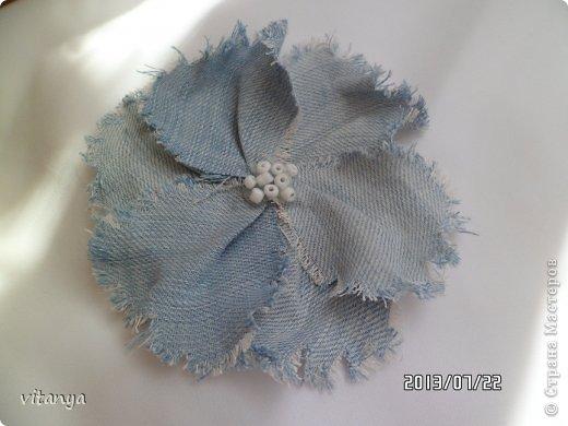 Украшение Цумами Канзаши Хризантема Канзаши и джинсовый цветок Ленты Ткань фото 4.