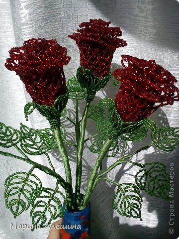 Поделка изделие Бисероплетение Ажурные розы Бисер.