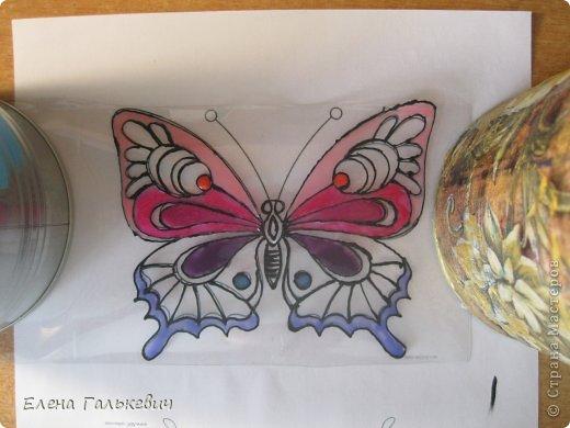 Мастер-класс Витраж Бабочка из пластиковой бутылки Бутылки пластиковые Краска фото 6