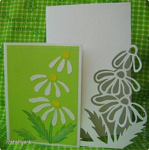 Похвастаюсь своими новыми открыточками. Захотелось вырезать открытку-вытынанку с ромашками-нарисовала шаблон, прикрепила его степлером к акварельной бумаге и пошла работать макетным ножиком-через минут 15-20 открыточка была готова.