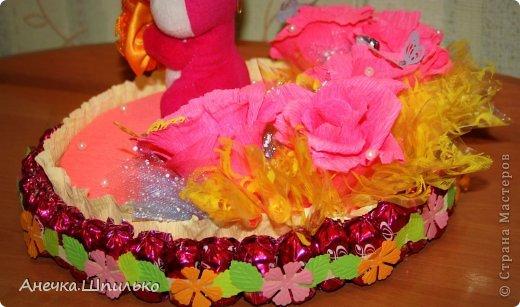 Девочке на 4 годика делали тортик с Зайкой и открыточку в виде кусочка тортика ,а в ней ещё и подарочек. фото 4