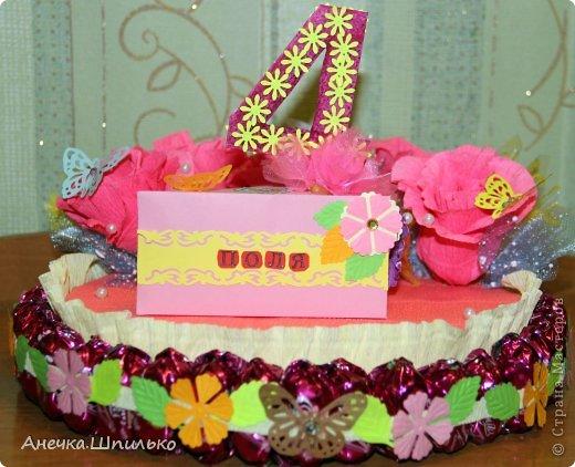 Девочке на 4 годика делали тортик с Зайкой и открыточку в виде кусочка тортика ,а в ней ещё и подарочек. фото 5