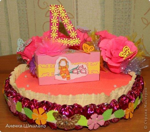 Девочке на 4 годика делали тортик с Зайкой и открыточку в виде кусочка тортика ,а в ней ещё и подарочек. фото 6