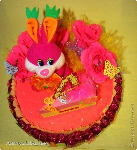 Девочке на 4 годика делали тортик с Зайкой и открыточку в виде кусочка тортика ,а в ней ещё и подарочек. фото 9