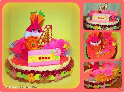 Девочке на 4 годика делали тортик с Зайкой и открыточку в виде кусочка тортика ,а в ней ещё и подарочек. фото 1