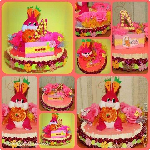 Девочке на 4 годика делали тортик с Зайкой и открыточку в виде кусочка тортика ,а в ней ещё и подарочек. фото 10