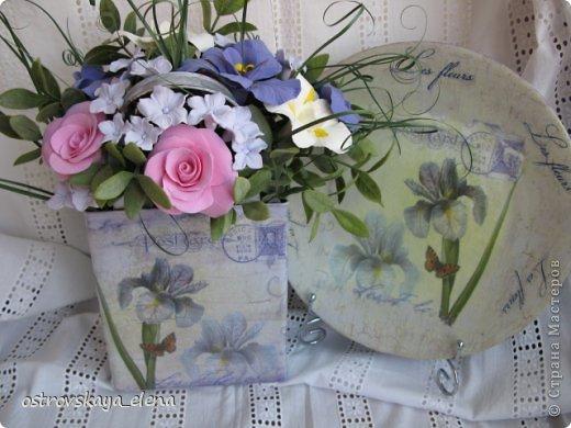 Комплект ваза-сумочка и тарелочка.