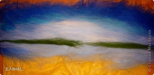 Картина панно рисунок Мастер-класс Валяние фильцевание Рисование и живопись Картина из шерсти Лето Шерсть фото 9
