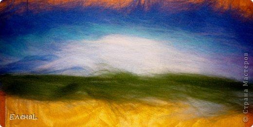 Картина панно рисунок Мастер-класс Валяние фильцевание Рисование и живопись Картина из шерсти Лето Шерсть фото 10