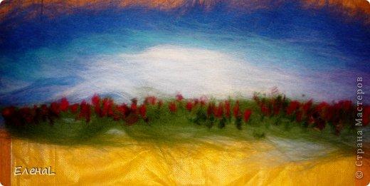 Картина панно рисунок Мастер-класс Валяние фильцевание Рисование и живопись Картина из шерсти Лето Шерсть фото 12