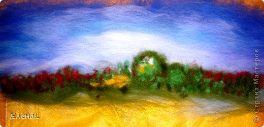 Картина панно рисунок Мастер-класс Валяние фильцевание Рисование и живопись Картина из шерсти Лето Шерсть фото 13