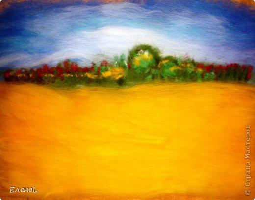 Картина панно рисунок Мастер-класс Валяние фильцевание Рисование и живопись Картина из шерсти Лето Шерсть фото 14