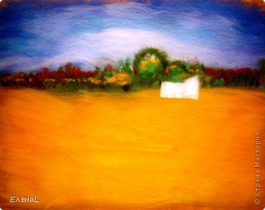 Картина панно рисунок Мастер-класс Валяние фильцевание Рисование и живопись Картина из шерсти Лето Шерсть фото 15