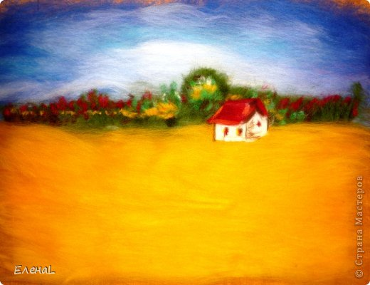 Картина панно рисунок Мастер-класс Валяние фильцевание Рисование и живопись Картина из шерсти Лето Шерсть фото 16