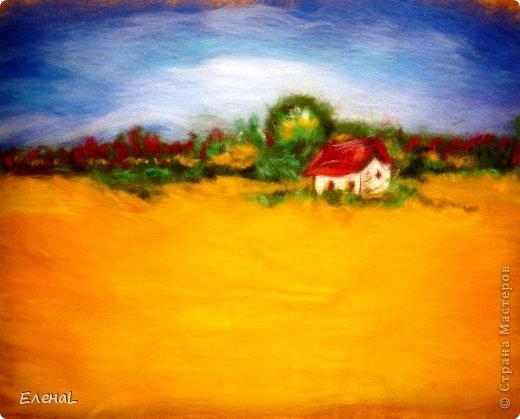 Картина панно рисунок Мастер-класс Валяние фильцевание Рисование и живопись Картина из шерсти Лето Шерсть фото 17