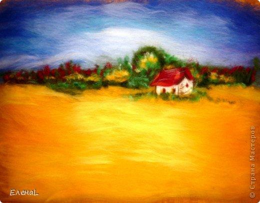 Картина панно рисунок Мастер-класс Валяние фильцевание Рисование и живопись Картина из шерсти Лето Шерсть фото 18