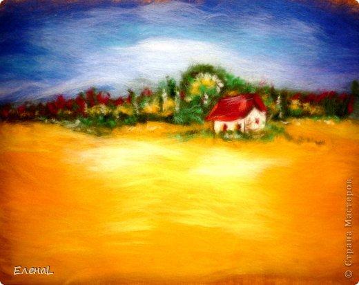 Картина панно рисунок Мастер-класс Валяние фильцевание Рисование и живопись Картина из шерсти Лето Шерсть фото 19