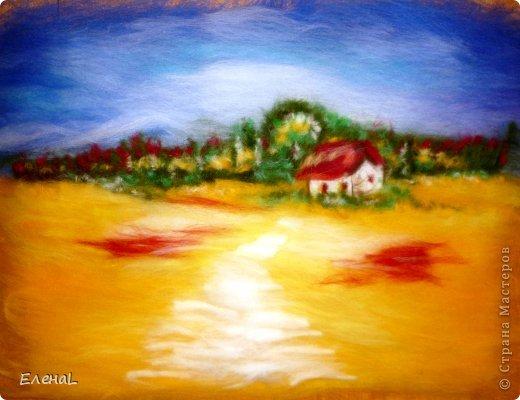 Картина панно рисунок Мастер-класс Валяние фильцевание Рисование и живопись Картина из шерсти Лето Шерсть фото 20