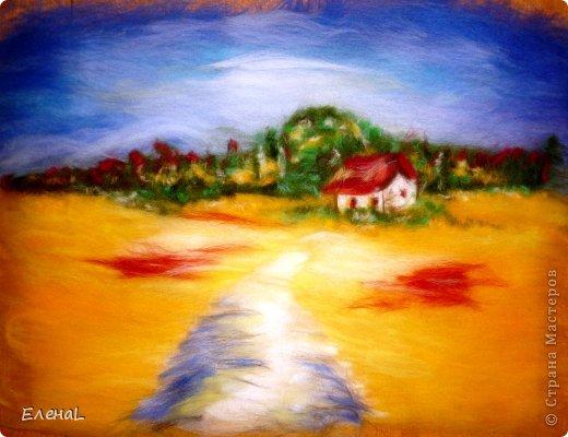 Картина панно рисунок Мастер-класс Валяние фильцевание Рисование и живопись Картина из шерсти Лето Шерсть фото 21