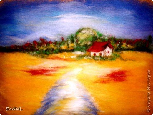 Картина панно рисунок Мастер-класс Валяние фильцевание Рисование и живопись Картина из шерсти Лето Шерсть фото 22
