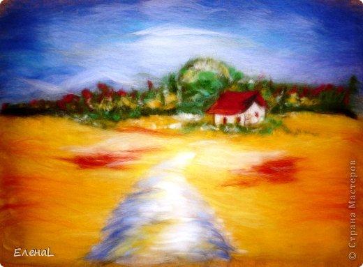 Картина панно рисунок Мастер-класс Валяние фильцевание Рисование и живопись Картина из шерсти Лето Шерсть фото 23