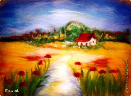 Картина панно рисунок Мастер-класс Валяние фильцевание Рисование и живопись Картина из шерсти Лето Шерсть фото 24