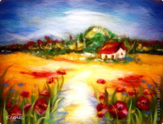 Картина панно рисунок Мастер-класс Валяние фильцевание Рисование и живопись Картина из шерсти Лето Шерсть фото 25