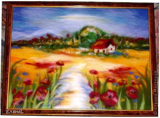 Картина панно рисунок Мастер-класс Валяние фильцевание Рисование и живопись Картина из шерсти Лето Шерсть фото 26