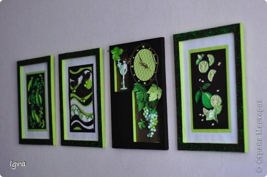 Все началось с покупки новой мебели. Моя душа захотела добавить в интерьер чего-то рукодельного и яркого. Было решено, что акценты будут в зеленом цвете. Впереди покупка  зеленых штор, подушек, покрывала. А пока родилась серия работ в технике квиллинг. Мой первый опыт. Рамки были сделаны из коробок, оставшихся от мебели. Вдохновлялась работами мастериц, выложенными на этом сайте. фото 1