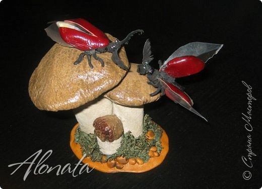 """Серия работ """"Озорной лягушатник"""".  http://alonata.blogspot.com/ Скульптурная композиция «Это мой гриб!» изображает лягушку, которая оккупировала роскошный белый гриб и не собирается сдавать своих позиций, а тем более уступать его случайному гостю. Да и у доброго грибника не поднимется рука согнать такое смелое создание с гриба, на котором она греется в редких лучах солнышка, что пробиваются сквозь ветви заросшей дубравы.  фото 14"""