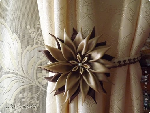 Цветы из лент на шторы своими руками