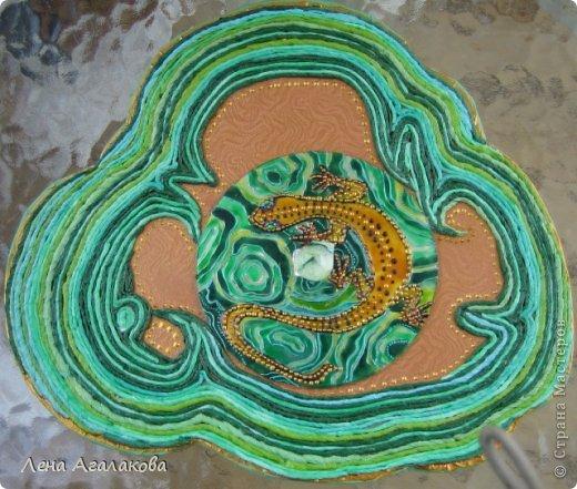 Картина панно рисунок Аппликация из скрученных жгутиков Витраж Хозяйка Медной горы Бумажные полосы Краска фото 1