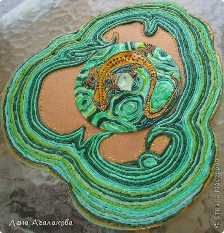 Картина панно рисунок Аппликация из скрученных жгутиков Витраж Хозяйка Медной горы Бумажные полосы Краска фото 3